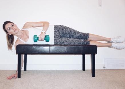 Side lying external rotation using light dumbbells. Start in this position.